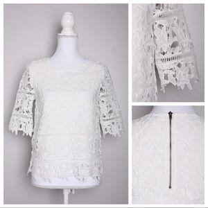 Cremieux White Lace Elbow Sleeve Zipper Blouse Top